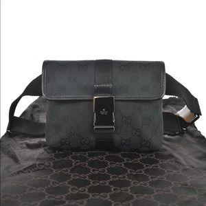 Authentic Gucci black canvas belt bag fanny pack